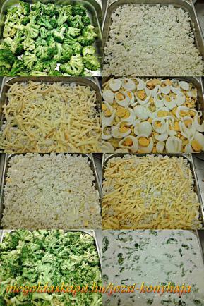 Füstölt sajtos, főtt tojásos rakott brokkoli