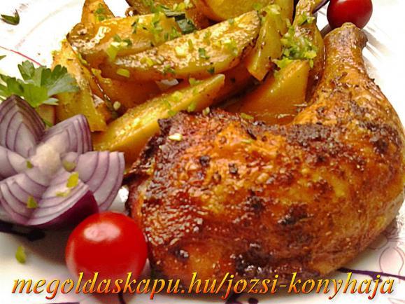 Sült csirkecomb tepsis burgonyával