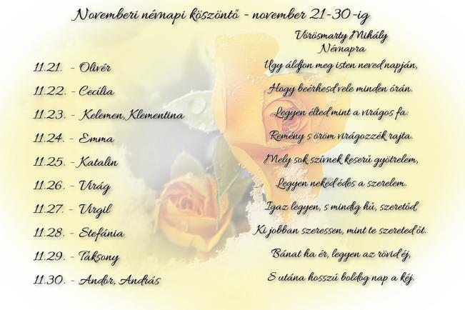 Áldott névnapot kívánok Neked! - november 21-30.